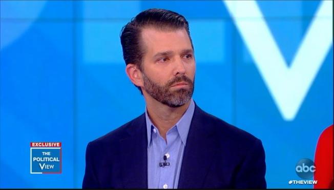 川普長子小唐納參加ABC晨間節目「觀點」,遭到馬侃女兒梅根當面指責。(ABC)