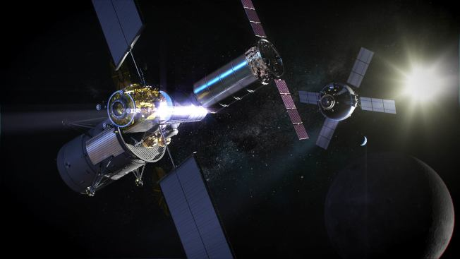登月前哨基地Gateway的模擬圖示。(NASA提供)