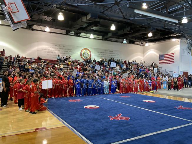 「北美洲國際武術大賽」9日在亞凱迪亞高中體育館舉行。(讀者提供)