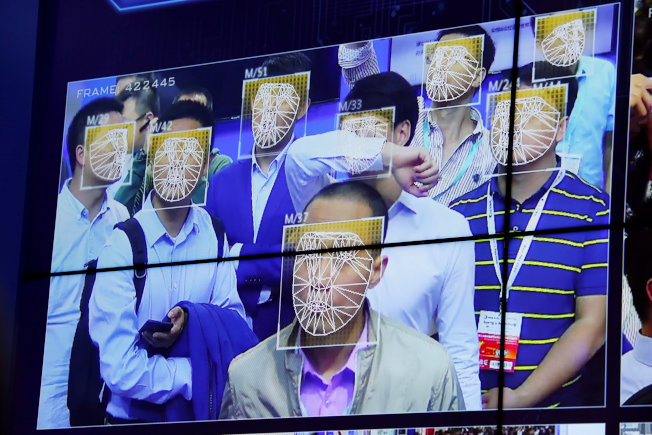 中國公共安全博覽會上的臉部辨識系統。(路透)