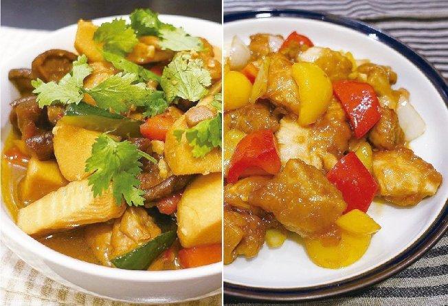 筍燒雞(左)和糖醋雞丁都是白飯殺手。圖/太陽臉