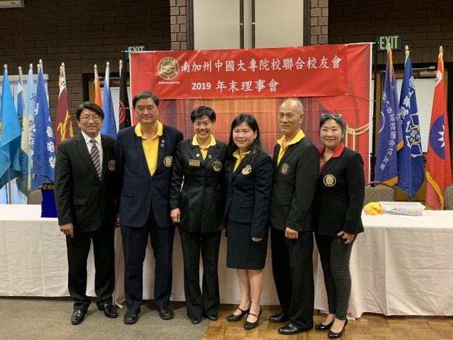 南加州中國大專院校聯合校友會2020年副會長選舉,郭文斌(左起)、須國勇、趙善儀、陳鳳桃、王聖階、馬文綺。(記者張越╱攝影)