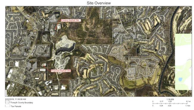 新舊瀝青廠位置示意圖,圖中可見鄰近有許多住宅區。(福賽斯郡公開資料)