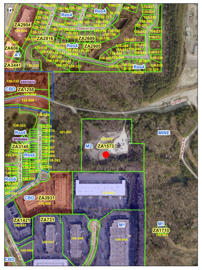 紅點區域為預訂新瀝青廠廠址,該地為M2(二類工業)用地。(福賽斯郡公開資料)