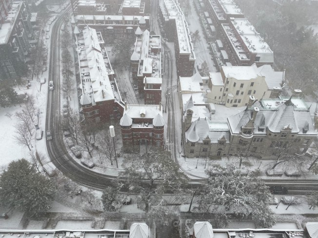 芝加哥市區11日大雪紛飛。(特派員黃惠玲╱攝影)