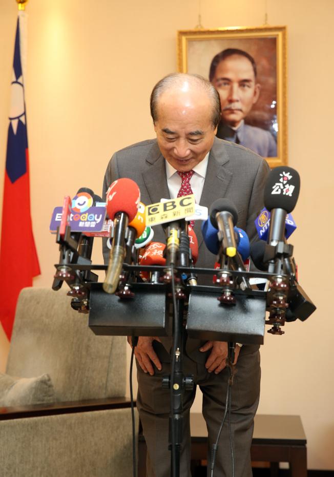 國民黨立委、立法院前院長王金平12日上午臨時舉行記者會, 他表示很遺憾,在參選總統的路上,他沒有取得最後的機會。(記者曾吉松/攝影)