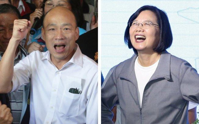 兩岸政策協會民調顯示,國民黨總統參選人韓國瑜(左)支持度落後蔡英文總統(右)。圖/本報系資料照片
