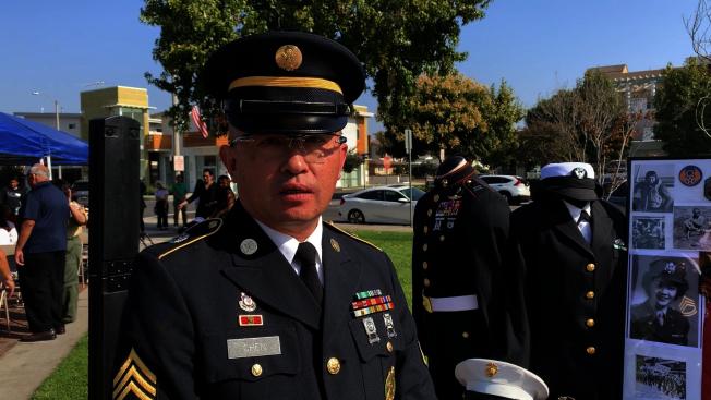 美國陸軍華裔募兵官陳彥豪。(記者王子銘/攝影)