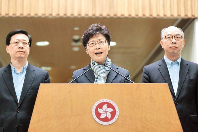 香港特首林鄭月娥昨召開記者會表示,肆意破壞香港的「暴徒」,其行為是與市民為敵,政治訴求不會得逞。(美聯社)