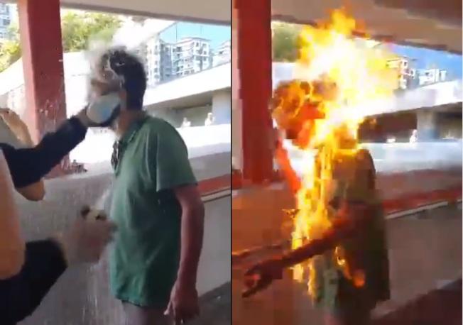 馬鞍山一名男子被人淋潑易燃液體(左圖)後點火焚燒(右圖)。(取材自微博)
