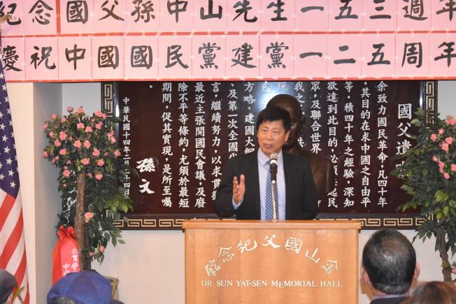馬鍾麟強調台灣如今的成就基於其制度優越性。(記者黃少華/攝影)