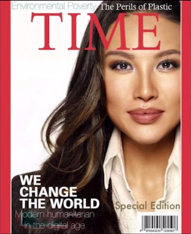 圖為張米娜在非營利組織網站上的一支2017年影片中,她描述自己的卓越貢獻時,使用了一張號稱是「時代」雜誌封面的照片。圖取自影片截圖