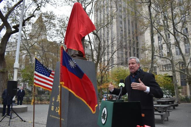 白思豪表示,孫中山的「天下為公」理念能夠代表著紐約市,相信所有人都是平等的,而這個城市也藉由實踐著這樣的價值,讓紐約市更加強大。(記者顏嘉瑩/攝影)