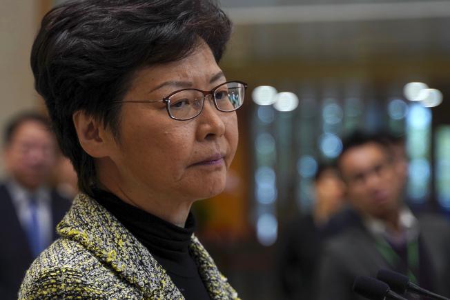 香港示威失控,影響生活秩序,香港特首林鄭月娥在政府總部召開記者會。(美聯社)