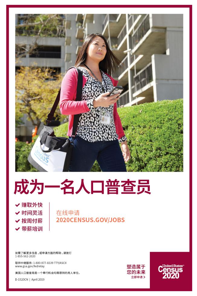 人口普查招募工作人員海報。(普查局提供)