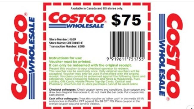 好市多(Costco)公司警示,在社群媒體上流傳的75元折價券是假的,會員不要上當。(Costco臉書)