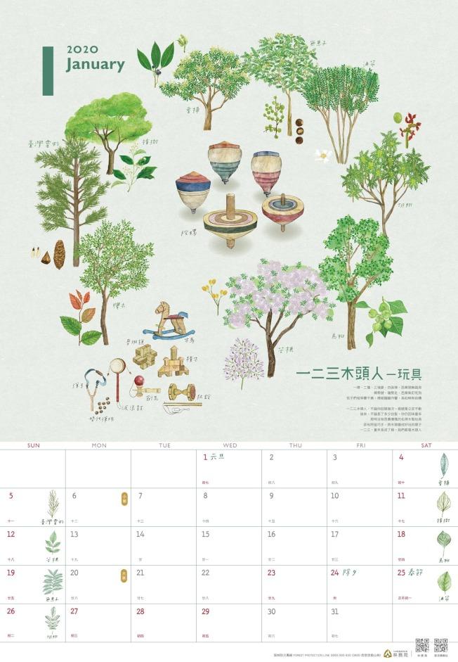 台灣林務局2020年月曆主題是「木作之森」。圖/林務局提供
