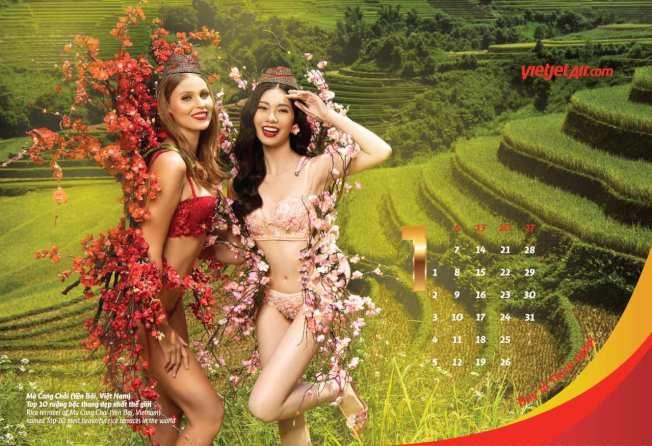 越捷航空2019年「比基尼」月曆,12位比基尼越捷女郎,搭配象徵亞洲各地的繽紛炫麗花朵,飛往越捷所經營的所有航線。圖/越捷航空提供