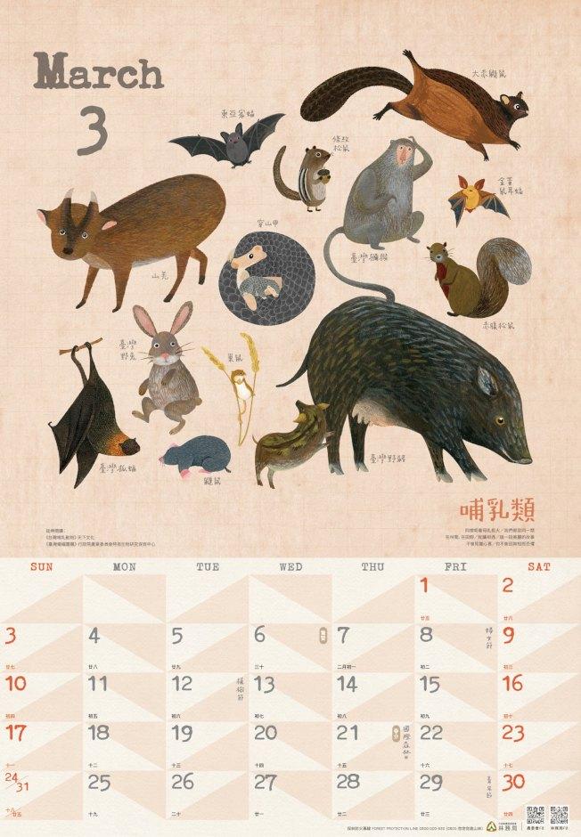 林務局2019年「森林曆」,介紹各種里山動物。圖/林務局提供