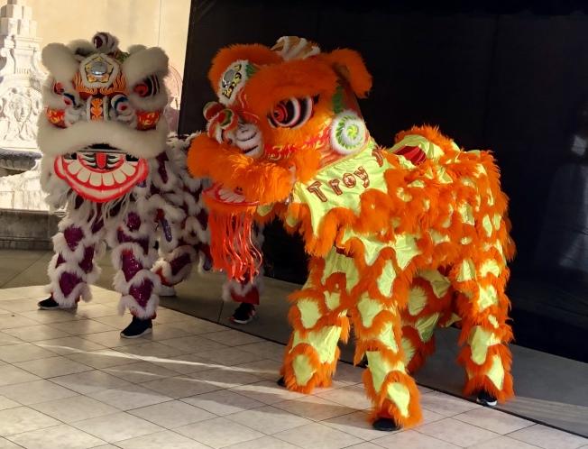 特洛伊大學孔子學院的雙獅舞蹈。(記者王宇平/攝影)
