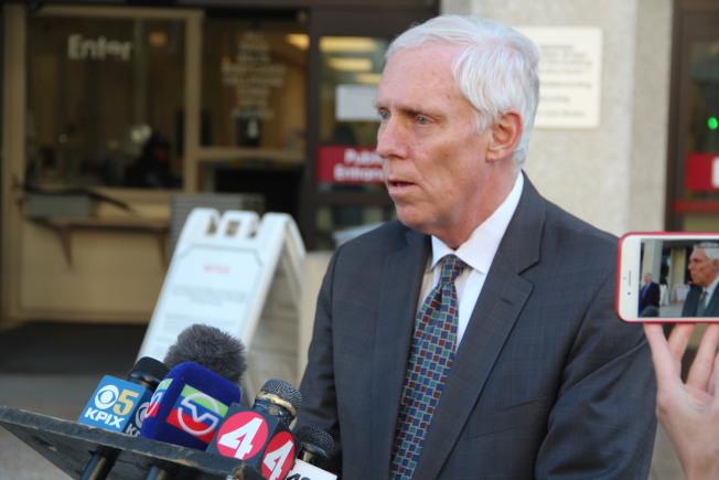聖馬刁縣地檢長瓦格斯塔夫表示,會等待新的證據。(記者李晗 / 攝影)
