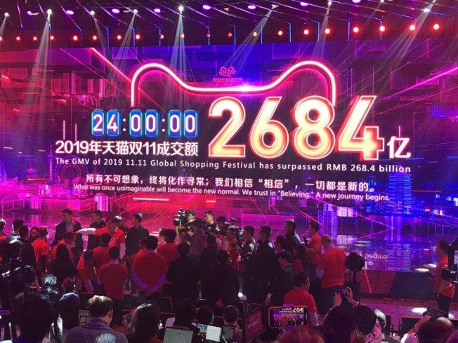 今年度的阿里巴巴集團「雙11」購物節,成交總額達到人民幣2684億元(約新台幣1兆1541億元)。 特派記者蔡銘仁/攝影