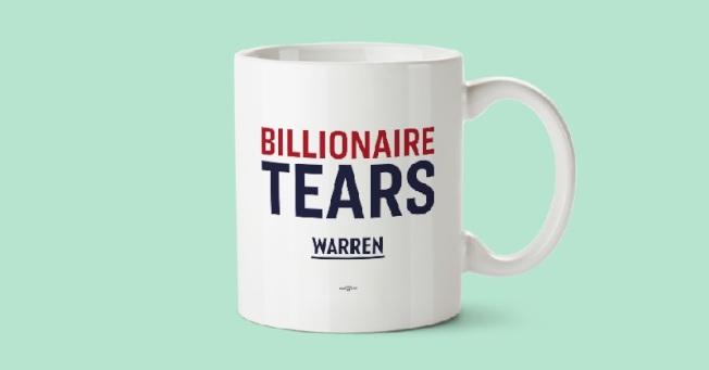 民主黨總統參選人華倫主張徵富人稅,以支應全民健保費用。圖為華倫團隊推出的「億萬富翁的眼淚」馬克杯。(華倫團隊)