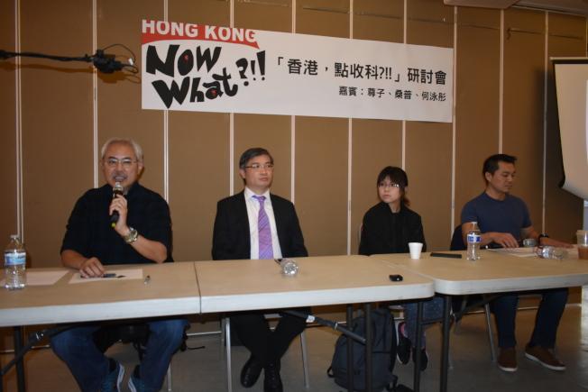 尊子(左一)、桑普(左二)、何泳彤(右二)對香港年輕人的未來感到憂心。(本報記者/攝影)