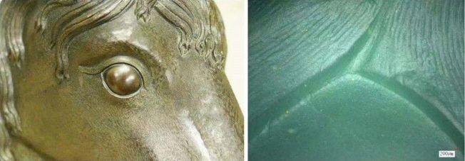 科學家對馬首銅像的工藝進行細部研究。(取材自北京青年報)