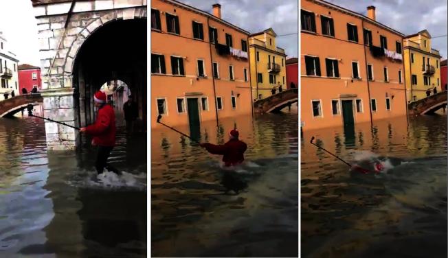 義大利威尼斯發生逾半世紀以來最嚴重洪水,整個城市飽受水災之苦,但這並阻止不了遊客觀光的心情。日前一名男子就想要在水中自拍,結果不小心一腳踩入運河水道中,差一點瞬間滅頂。圖片翻攝Twitter/@karinSm33476552影片