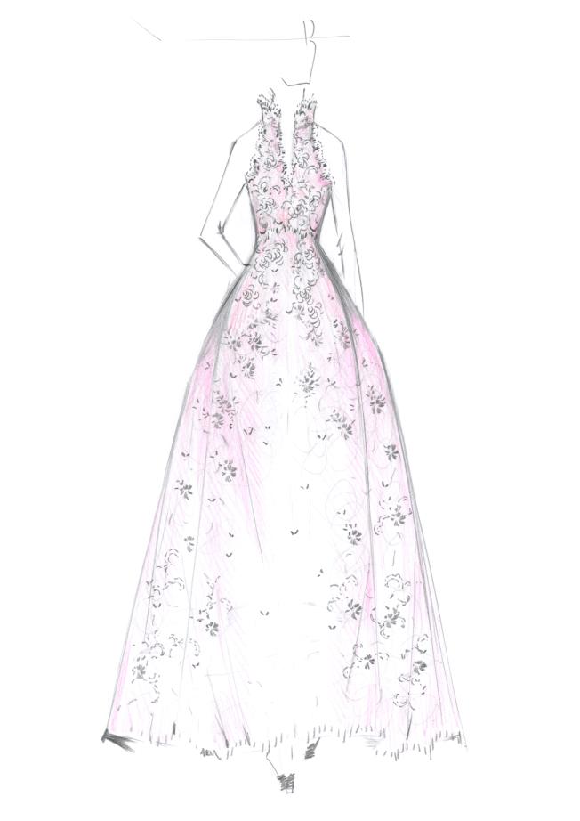 夏姿·陳為林志玲大婚送客禮服操刀設計草稿。圖/SHIATZY CHEN提供