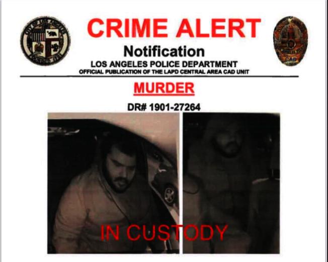 洛市殺人案嫌犯被捕。(LAPD推特)