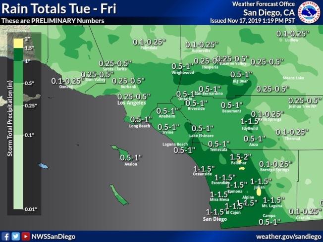 星期二開始的降雨預測圖。(國家氣象局)