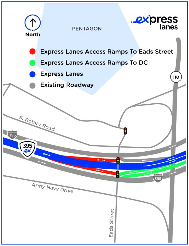 五角大樓附近I-395出口及收費路段介紹。(Transurban提供)