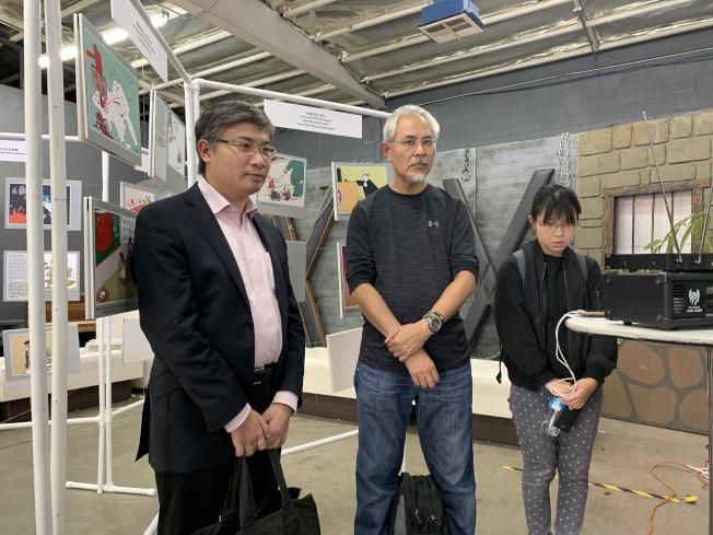政治評論員桑普(左起)、香港漫畫家尊子、香港學生何泳彤。(本報記者/攝影)