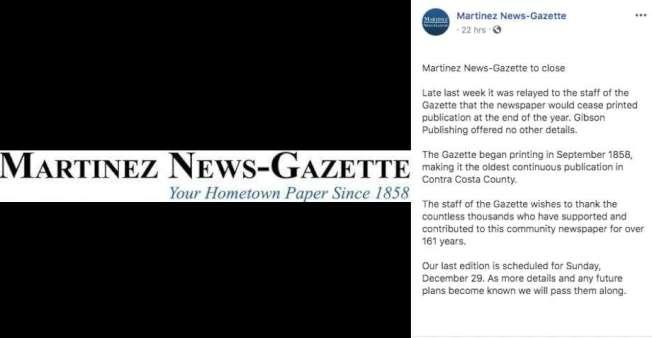 1858年創刊的瑪蒂尼茲新聞公報宣布即將停刊,讀者都很震驚。(取自臉書)