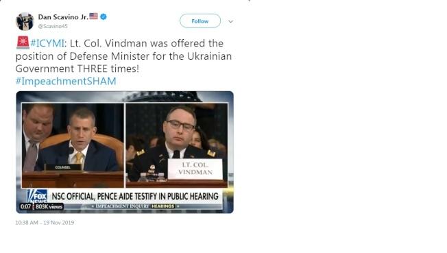川普總統推特上稱,「烏克蘭三次邀請維德曼擔任國防部長。」(川普推特)