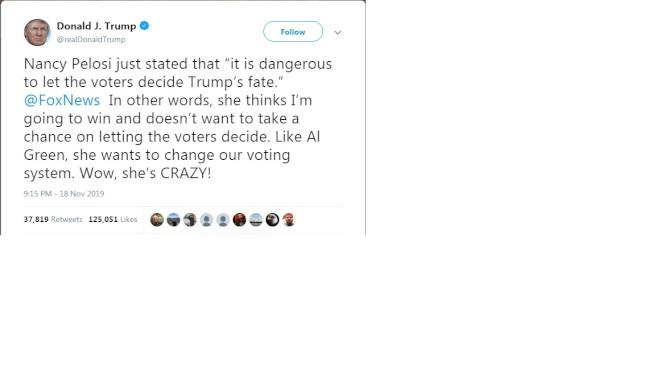 川普總推文批評眾院議長波洛西,說她想要改變美國的選舉制度,這種想法「簡直瘋狂」。(川普推特)