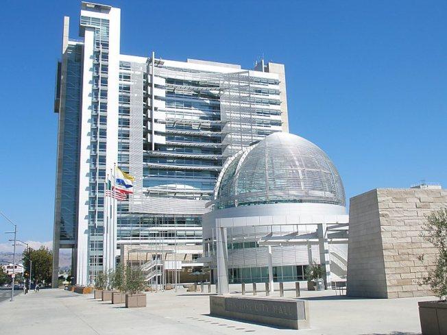 WalletHub網站使了一項「罪惡城市」的排名,結果賭城拉斯維加斯排第1,聖荷西排133。圖為聖荷西市府大樓。(Getty Images)
