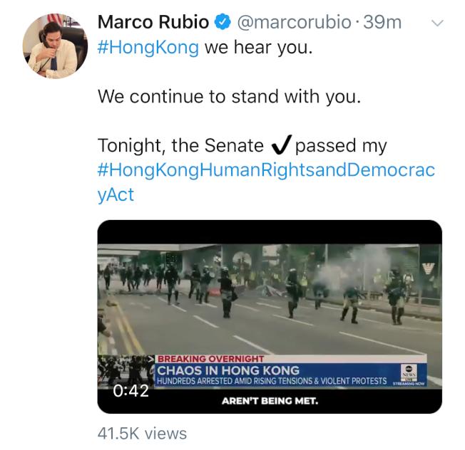 提案人聯邦參議員魯比歐在推特貼文寫道:「我聽見了你們的聲音,我們將繼續支持你們。」(取材自推特)
