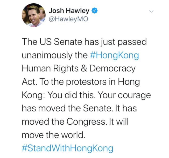 聯邦參議員何利也在推特貼文:「致香港的示威者:你們做到了!你們的勇氣感動了眾議院,感動了參議院,也將感動整個世界。」(取材自推特)