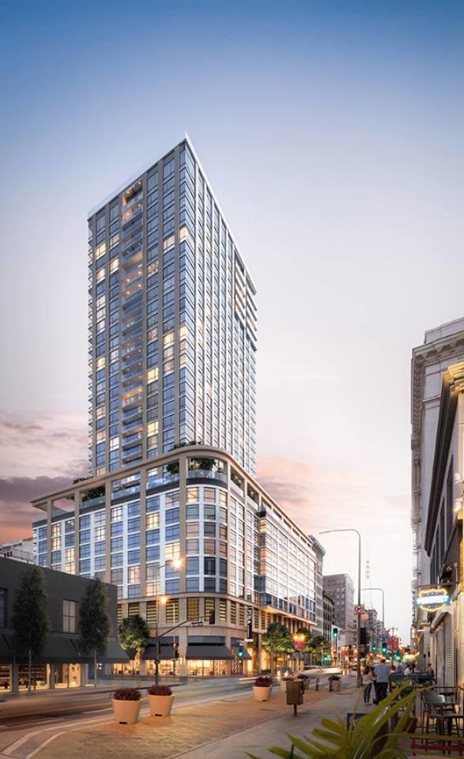 部分華裔千禧世代中意市中心的繁華。圖為洛杉磯市中心的35層高檔住商兩用建案Perla,有450戶康斗。(Perla提供)