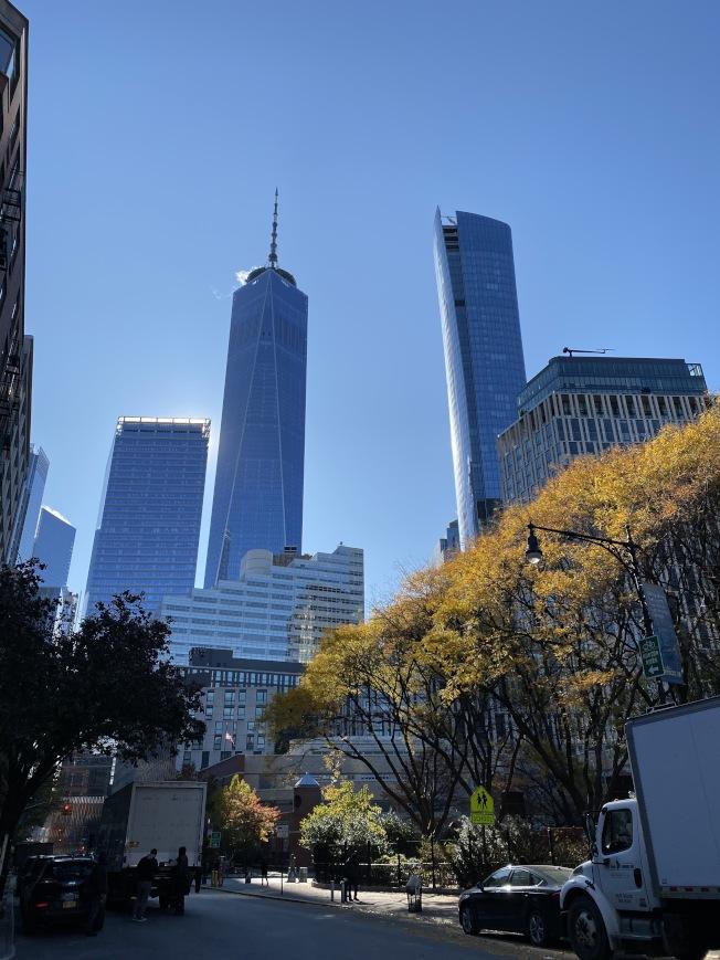 步行在翠貝卡可看到世貿大廈。(記者金春香/攝影)