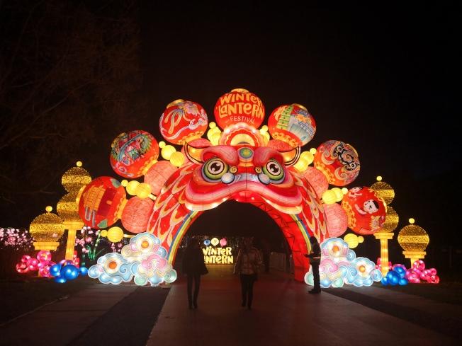 紐約冬季燈展上精美的彩燈。(記者黃伊奕/攝影)