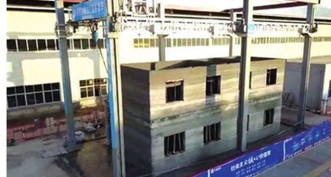 「世界首例原位3D打印雙層示範建築」在廣東龍川產業園成功完成主體打印,淨用時間不到60小時。(取材自銀川晚報)
