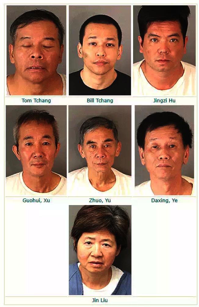 河濱警方繼10月30日在東谷市、Jurupa Valley等地突擊大麻屋,拘捕多名華人嫌犯後,近日再次在兩地突擊大麻屋,拘捕七名華人嫌犯。(警方提供)