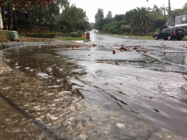 久旱遇甘霖,20日的首場秋雨帶來南加州地區將近半吋的降雨。(記者楊青/攝影)