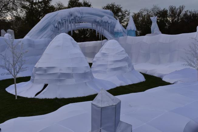 「冬日幻想」主題園區是以極地風景為主。(記者顏嘉瑩/攝影)