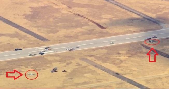 美國空軍兩架T-38教練機於當地時間21日早上9時墜毀,飛行員兩死兩生還。取自臉書(@Enid News & Eagle )