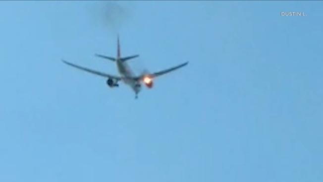 洛杉磯國際機場一架菲律賓航空公司(Philippine Airlines)波音777飛機引擎21日上午起火,安全迫降。(取材自ABC7)